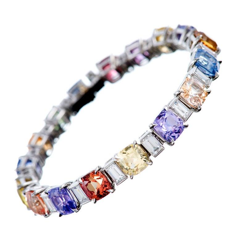Magnificent 'No Heat' Colored Sapphire and Diamond Tennis Bracelet