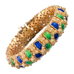 Textured Gold Bracelet Navy Blue and Grass Green Enamel