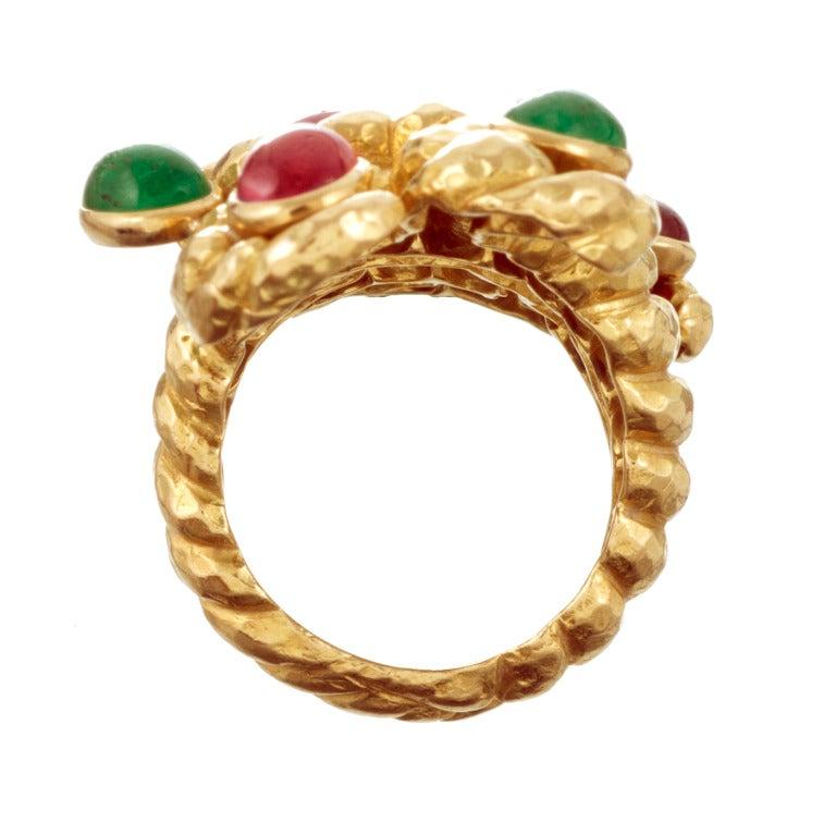 david webb ruby and emerald yellow gold ring at 1stdibs