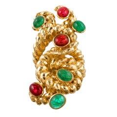 David Webb Ruby and Emerald Yellow Gold Ring