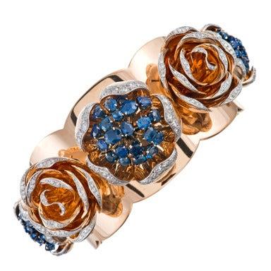 Retro 1940s Sapphire Diamond Rose Gold Cuff Bracelet