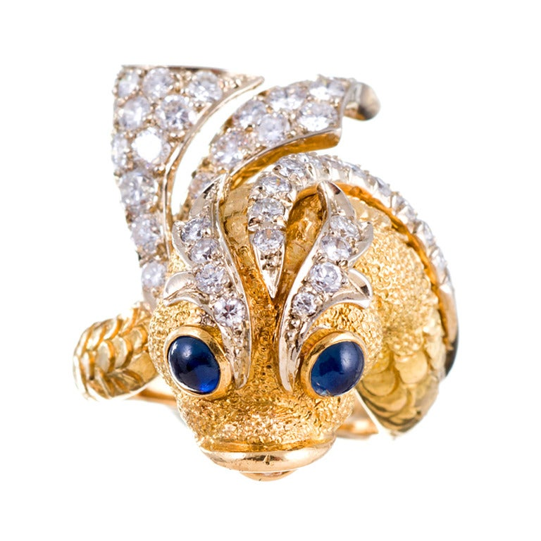 Sapphire and Diamond Sculptural Fish Ring