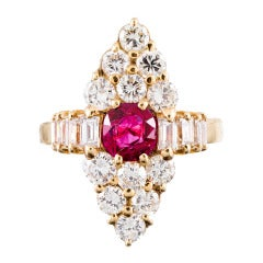 Marquise-Shaped Diamond Ruby Yellow Gold Cluster Ring