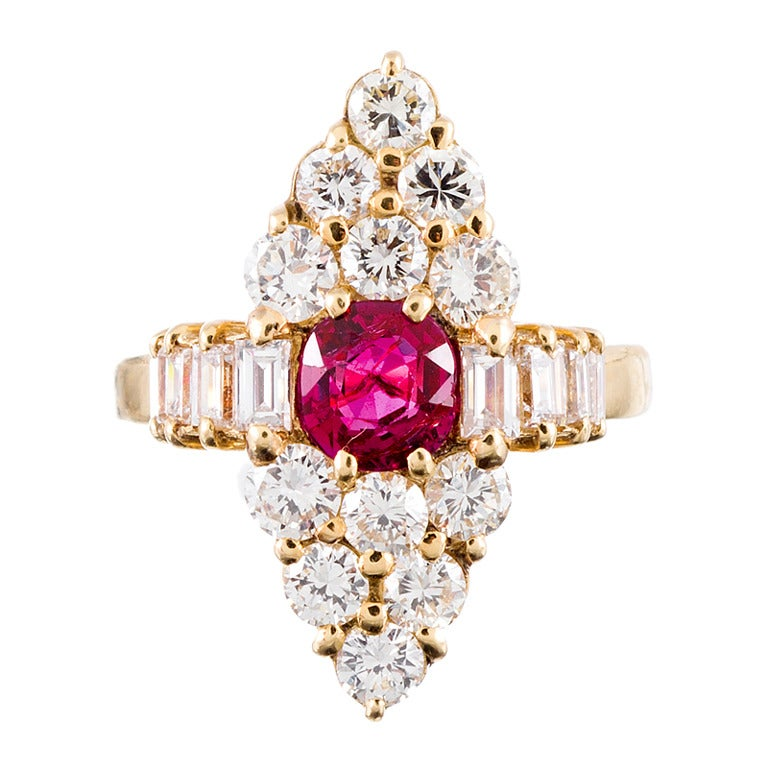 Marquise-Shaped Diamond Ruby Yellow Gold Cluster Ring For Sale