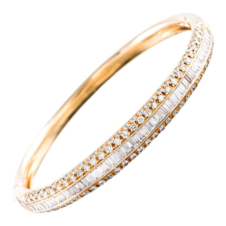 Contemporary Round and Baguette Diamond Bangle Bracelet at 1stdibs