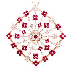 Extra Large Ruby Diamond Gold Salavetti Pendant