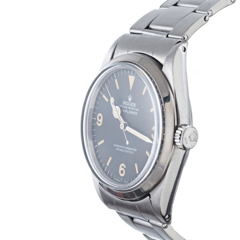 Rolex stainless steel Explorer wristwatch, Ref. 1016, circa 1967,  with beautiful case condition and a gorgeous patina on the dial. This watch comes