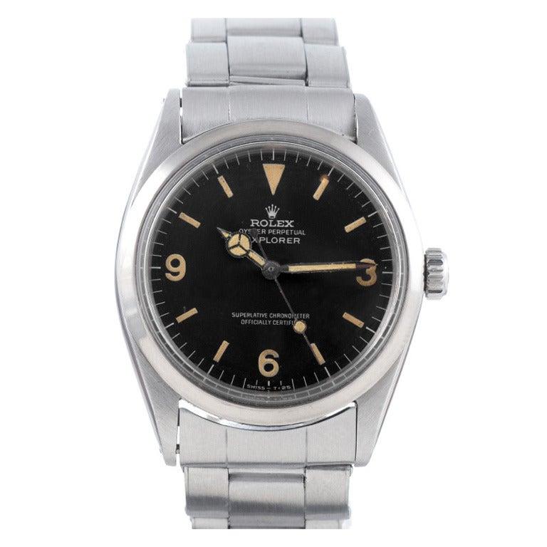 Rolex Stainless Steel Explorer Wristwatch Ref 1016 circa 1967