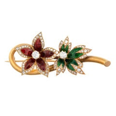 Red and Green Enamel Diamond Yellow Gold Flower Pin