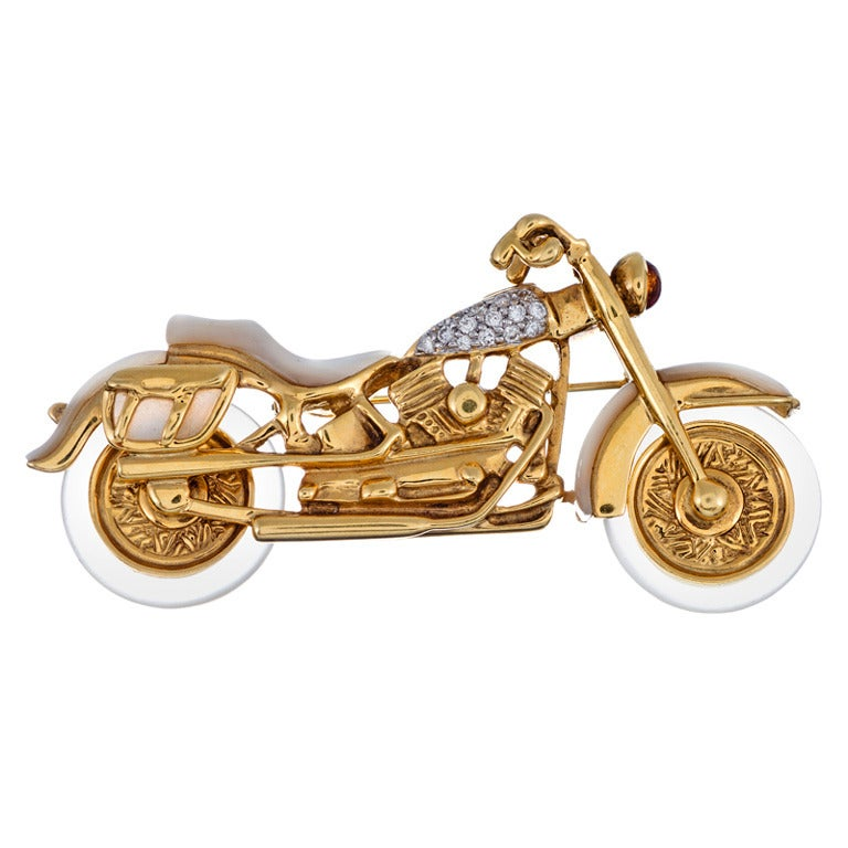 """""""Lavin"""" Mother-of-Pearl, Diamond and Crystal Motorcycle Brooch"""