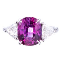 Especially Fine Low-Heat Pink Sapphire and Platinum Ring