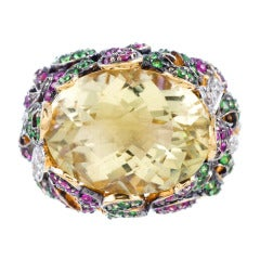 Celery Green Cushion Cut Citrine Ring