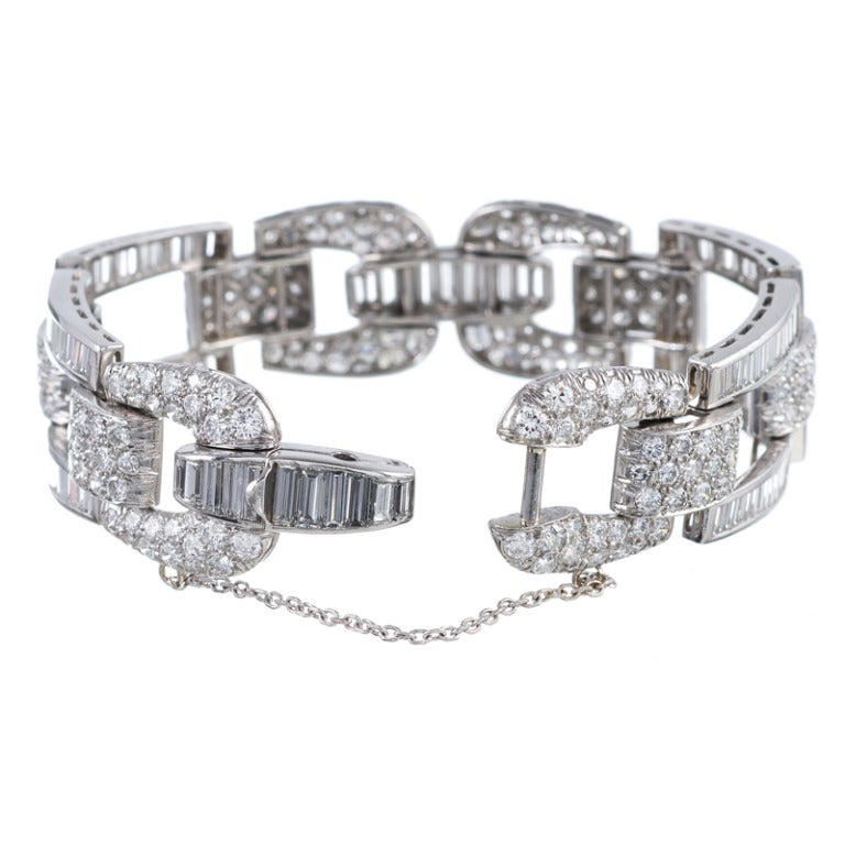 High Glamour, 1950s Round and Baguette Cut Diamond Bracelet 2