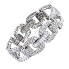 High Glamour, 1950s Round and Baguette Cut Diamond Bracelet