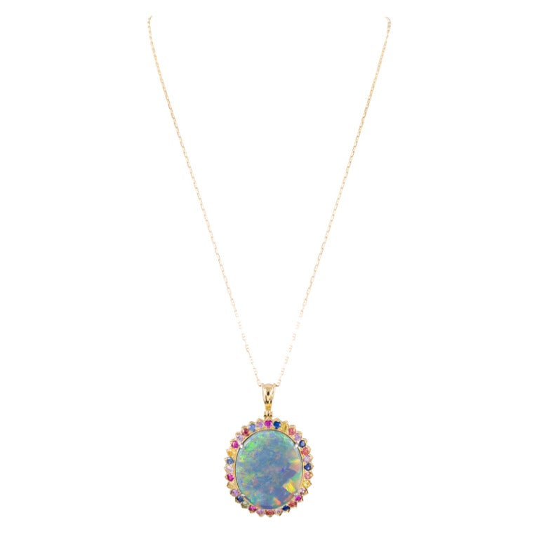 Magnificent 31.31 Carat Opal Pendant In Excellent Condition For Sale In Carmel-by-the-Sea, CA