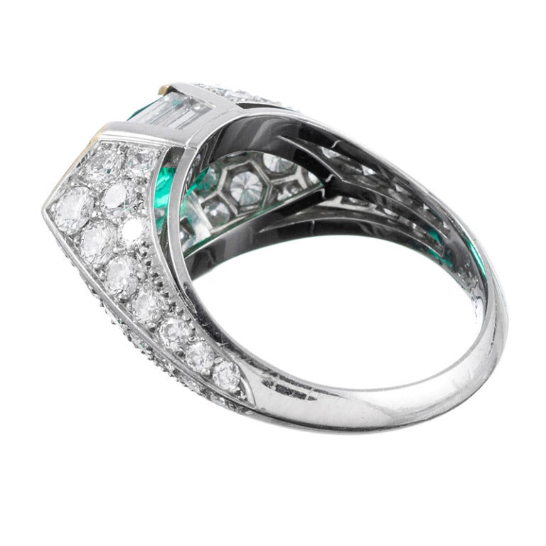 contemporary made marquise emerald and ring