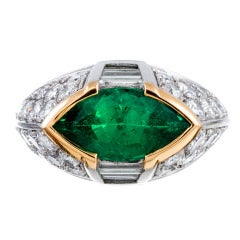 Contemporary Hand Made Marquise Emerald and Diamond Ring