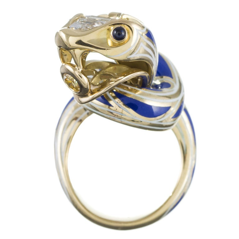 Created from an original concept by our in-house master jeweler Juan daSilva, this ring is a structural masterpiece rising off the finger with triumphant poise. An undulating masterwork of polished gold, fancy diamonds and artful enamel, Juan has