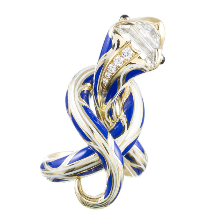 Enamel Diamond Gold Serpent Sculpture Ring Masterpiece In New Condition In Carmel-by-the-Sea, CA