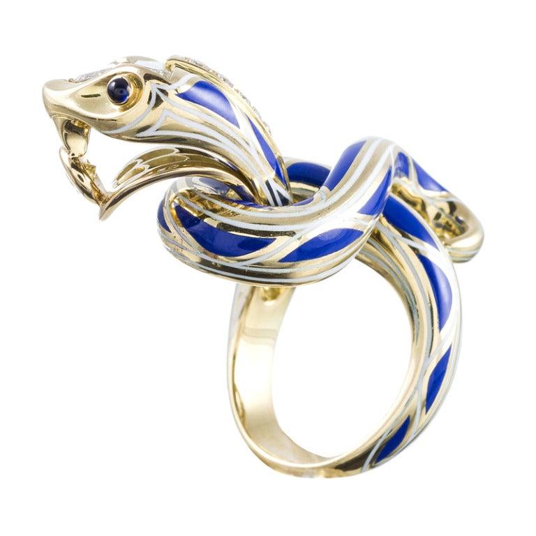 Women's Enamel Diamond Gold Serpent Sculpture Ring Masterpiece