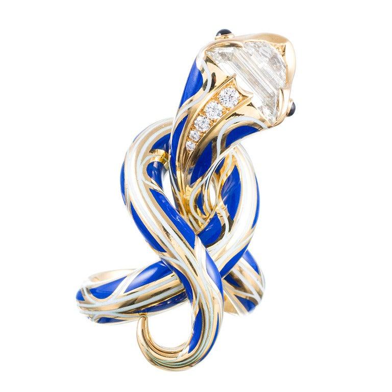 Enamel Diamond Gold Serpent Sculpture Ring Masterpiece