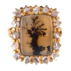 "Antique ""Picture Frame"" Moss Agate and Rose Cut Diamond Ring"