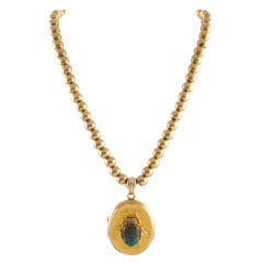 Turn-of-the-Century Turquoise Scarab Locket, circa 1900