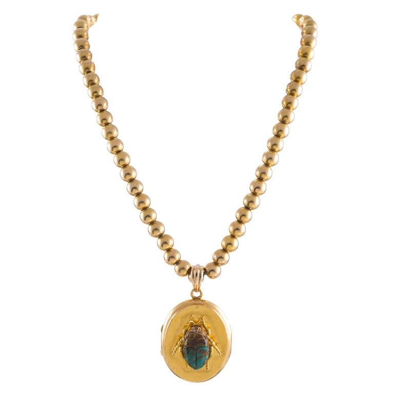 Turn-of-the-Century Turquoise Scarab Locket, circa 1900