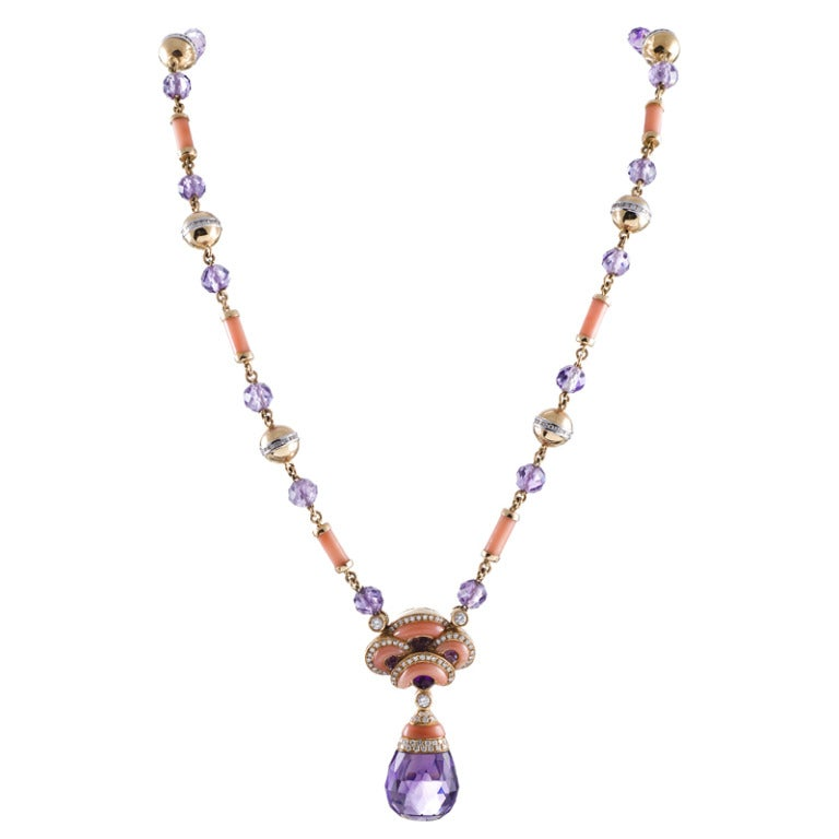 Contemporary Art Nouveau Coral, Amethyst and Diamond Necklace In As New Condition For Sale In Carmel-by-the-Sea, CA