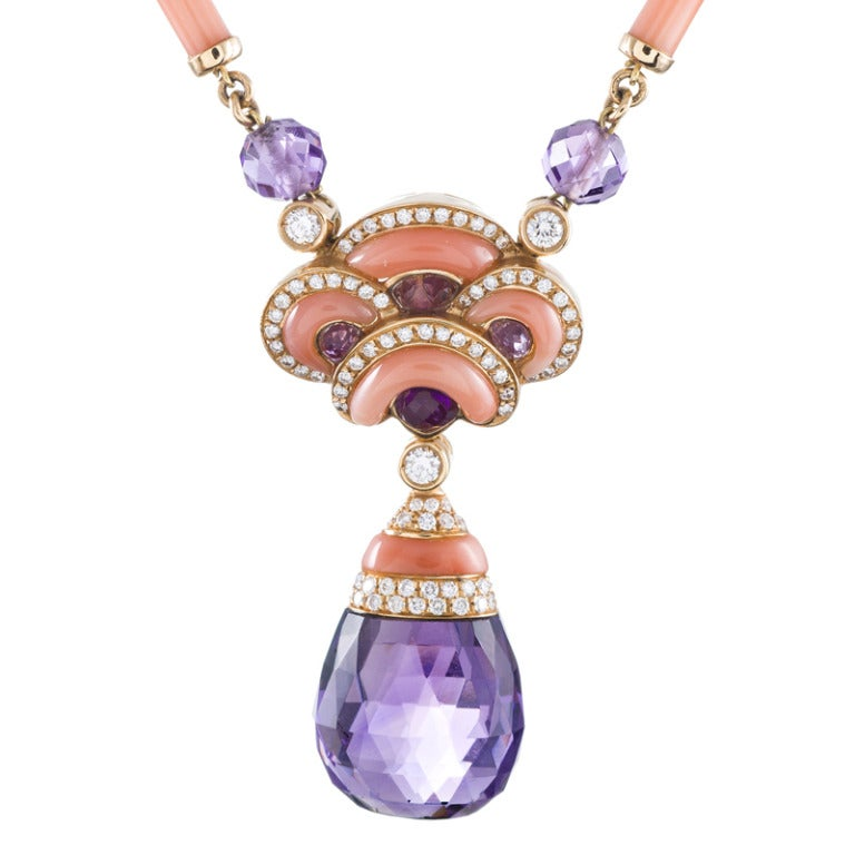 Women's Contemporary Art Nouveau Coral, Amethyst and Diamond Necklace For Sale
