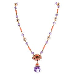 Contemporary Art Nouveau Coral, Amethyst and Diamond Necklace