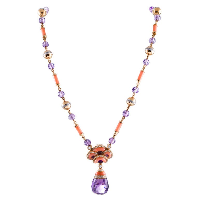 Contemporary Art Nouveau Coral, Amethyst and Diamond Necklace For Sale