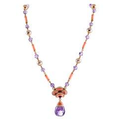 Contemporary Art Nouveau Coral, Amethyst and Diamond Necklace