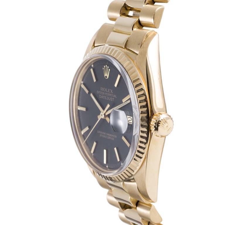Rolex Yellow Gold Datejust Wristwatch Ref 1601 circa 1970s 2