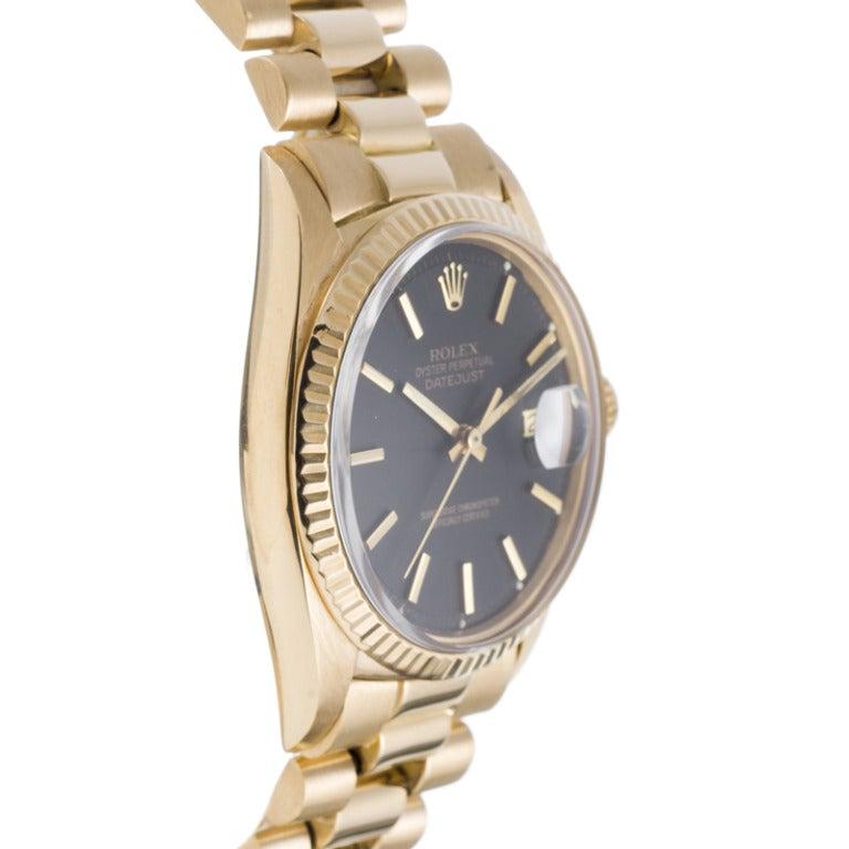 Rolex Yellow Gold Datejust Wristwatch Ref 1601 circa 1970s 3