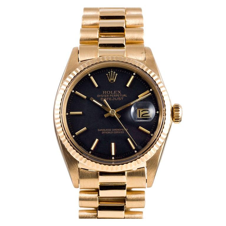 Rolex Yellow Gold Datejust Wristwatch Ref 1601 circa 1970s 1