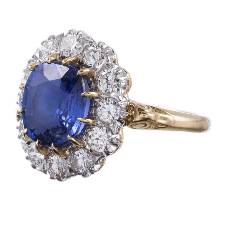 Classic Princess Diana and Kate Middleton Style  Sapphire Diamond Cluster Ring