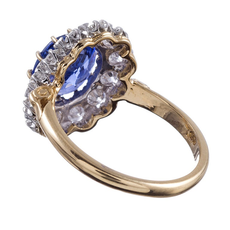 Victorian Classic Princess Diana Style  Sapphire Diamond Cluster Ring For Sale