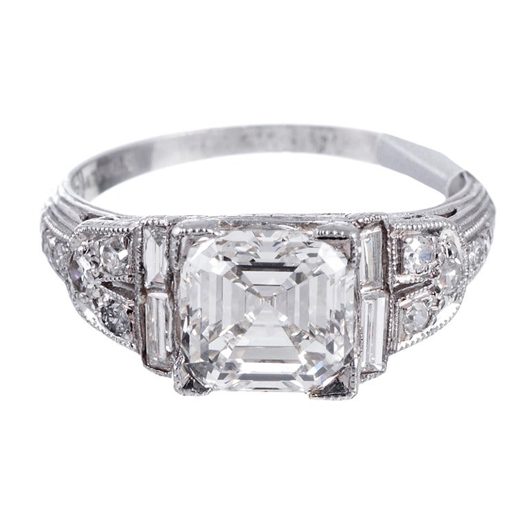 Charming 1930s 2 05ct Asscher Cut Diamond Engagement Ring at 1stdibs