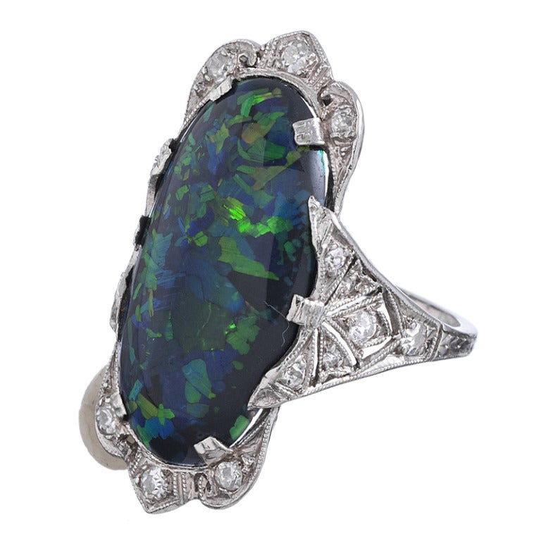 Stunning black opal ring, rendered in platinum and framed in diamond-studded platinum lace. The ring measures 1 1/8 inches long and looks incredibly elegant on the finger. FInished with a fine hand-pierced under gallery, this is a fine work of art.