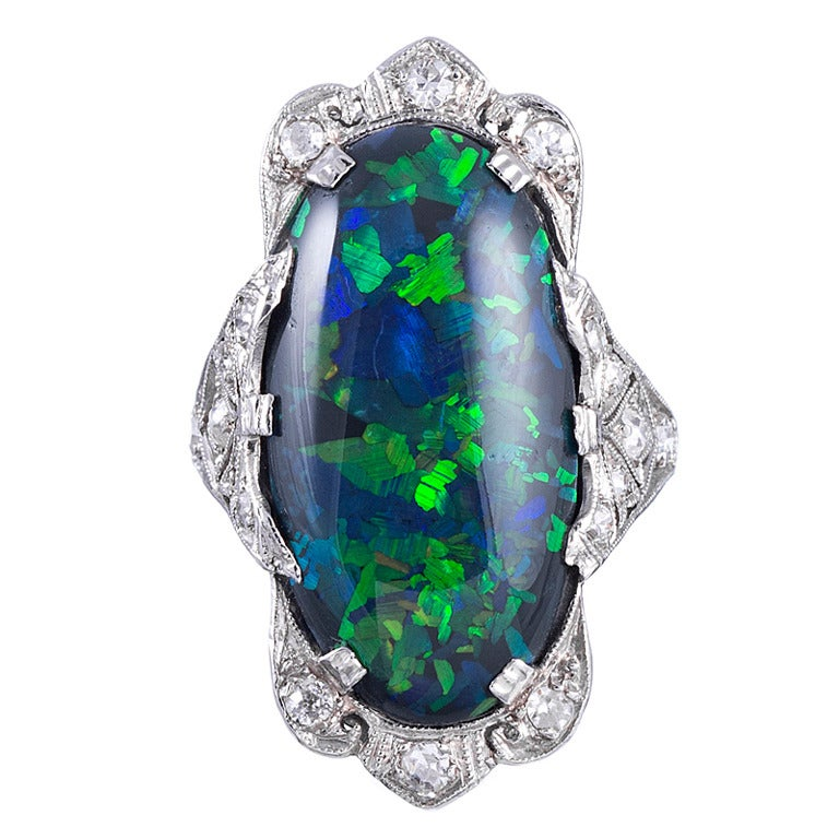 Magnificent Art Deco Black Opal Platinum Plaque Ring 1