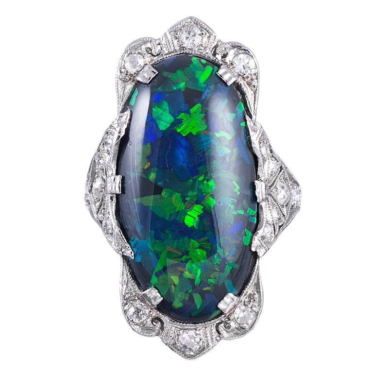 Magnificent Art Deco Black Opal Platinum Plaque Ring For Sale