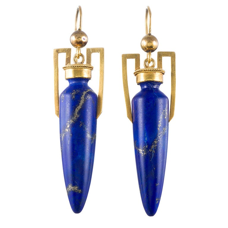 Egyptian Style Antique Lapis Lazuli Torpedo Earrings 1