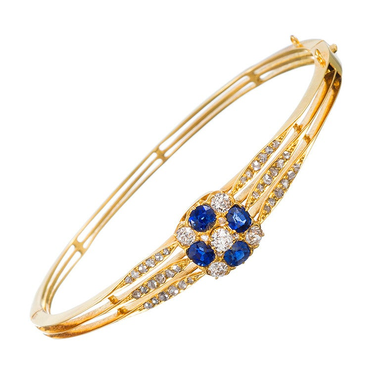 bracelet diamond sapphire bangle gold white and bangles image