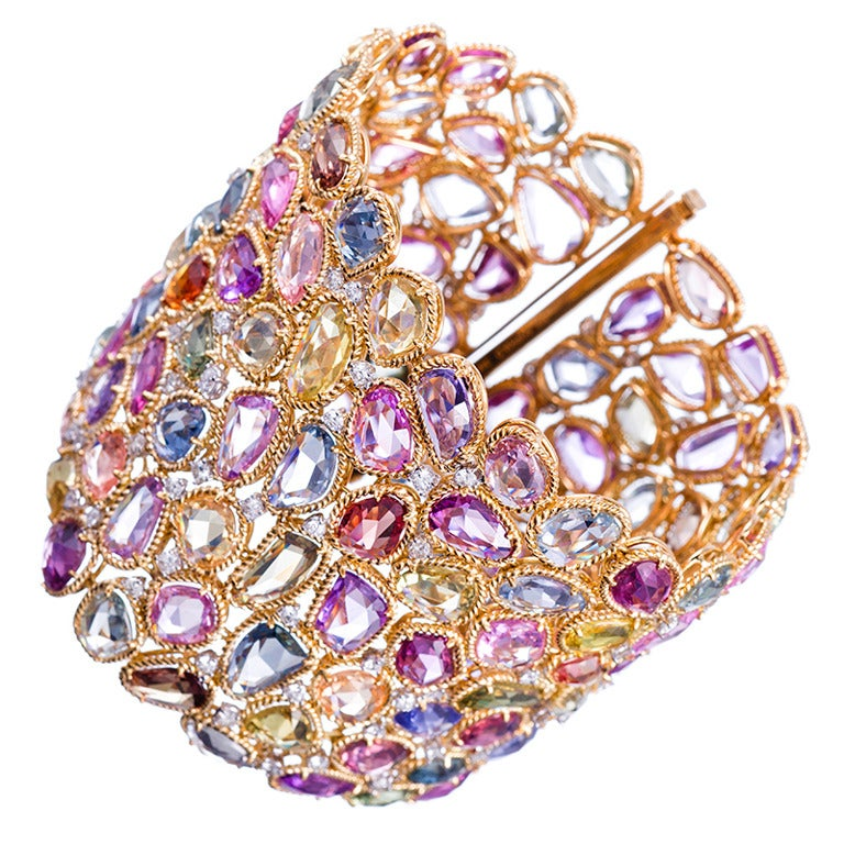 Tiffany Heart Bracelet >> 132.16 Carat Multi-Colored Sapphire Bracelet at 1stdibs