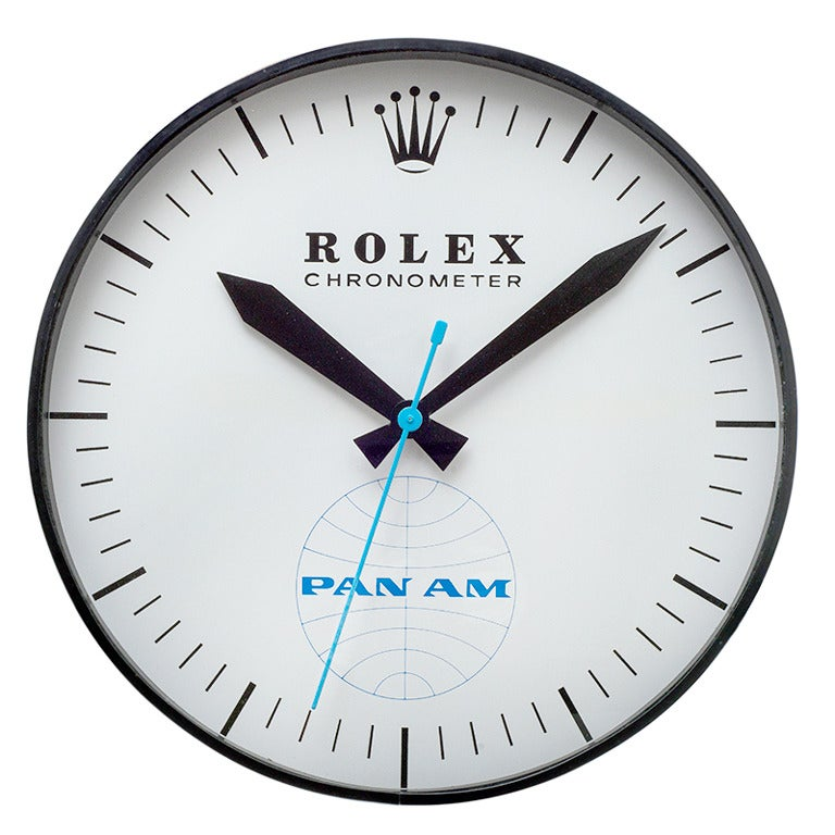 Rolex Licensed Pan Am Extra Large Wall Clock Circa 1960 At