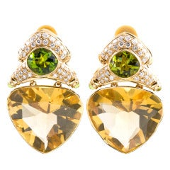 Extra Large 1980s Citrine Peridot Diamond Ear Clips