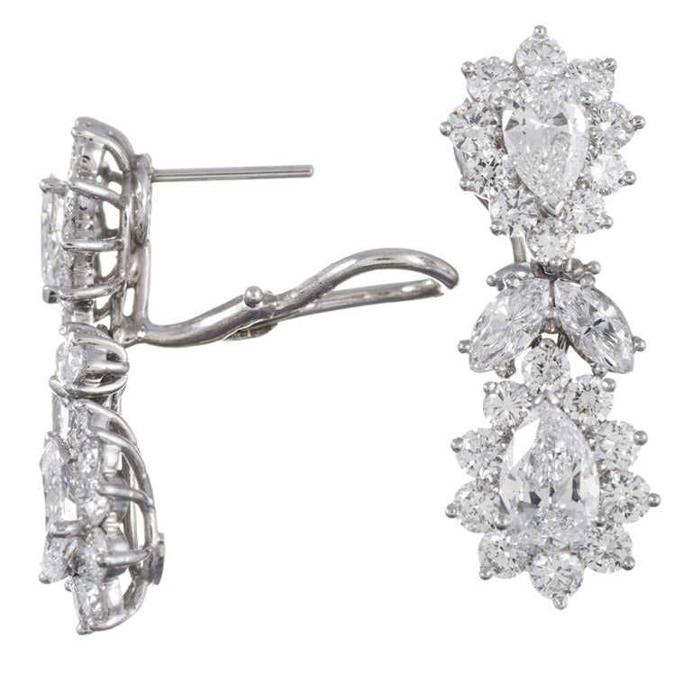 1950s Fancy Shaped Diamond Cluster Drop Earrings 2