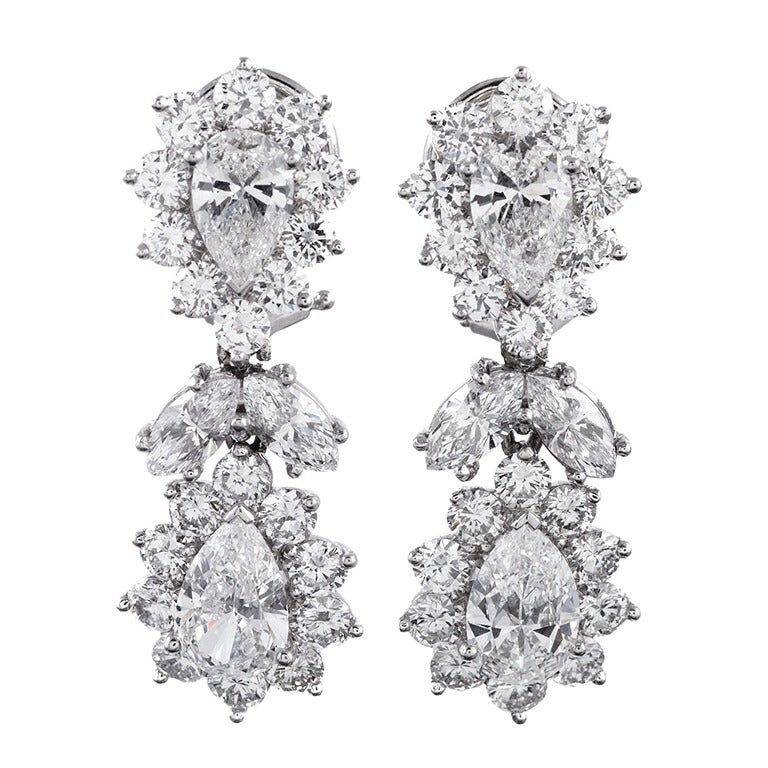 1950s Fancy Shaped Diamond Cluster Drop Earrings 1