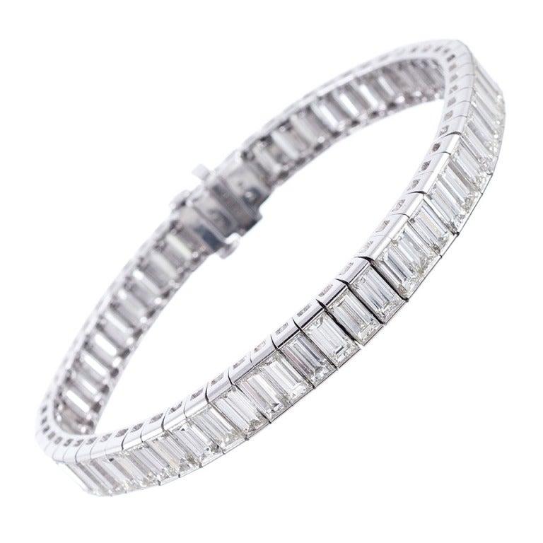 Baguette Diamond Platinum Line Bracelet At 1stdibs